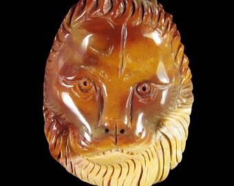Carved Lion Head Pendant Succor Creek Jasper