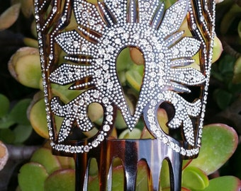 Hair comb, 1910s, spanish with Swarowski/diamante' and metal pearls, perfect conditions