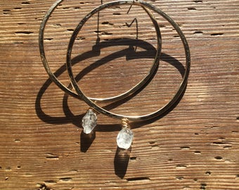 Gold Hoops with Herkimer Diamonds