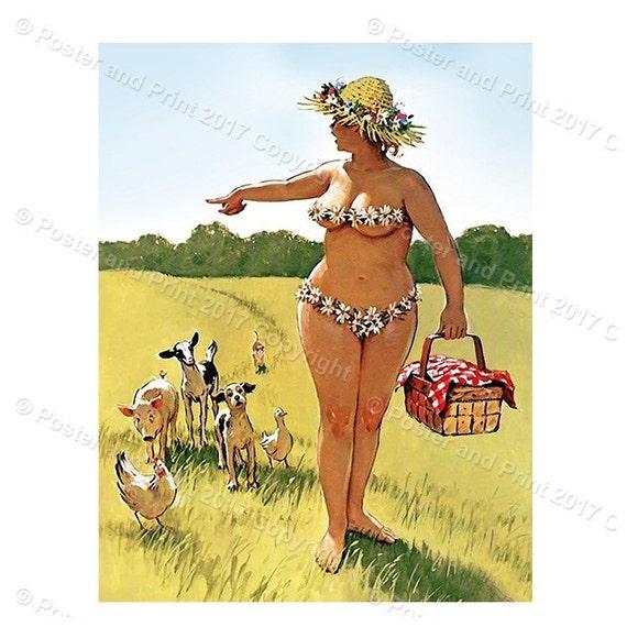 Hilda Picnic walking animals GO bikini poster pin up girl