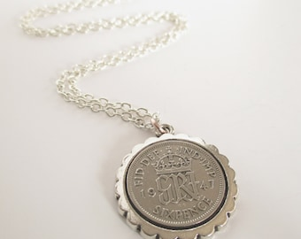Mother's Day Necklace, Sixpence Necklace, Grandma Gift, Birthday Necklace, Mother's Day Gift for Granny, Mother's Day Present