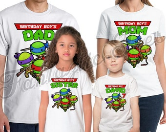Teenage Mutant Ninja Turtles Birthday Shirt Add Name & Age TMNT Custom Birthday Party TShirt 02