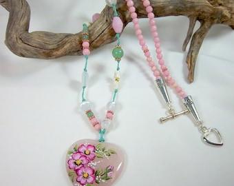 Pink Heart Necklace, Pink Quartz Heart Pendant, Pink Dogwood Pendant, Handpainted Pendant, Green, Pink, Moonstone