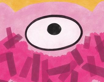 Pink Monster A4 Print