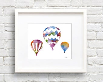 Hot Air Balloons Art Print - Abstract Watercolor Painting - Wall Decor