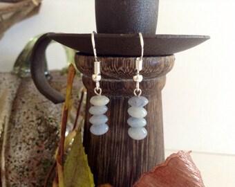 Dainty Blue Quartz & Sterling Silver Earrings
