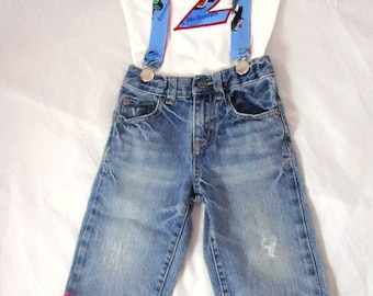 Cars Birthday Shirt Jeans Suspenders: Boy Birthday Outfit, blue, red, Lightning birthday party, photo shoot, adjustable, removable, upcycled