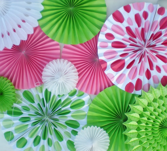 Hot pink lime green paper rosettes for backdrop birthday