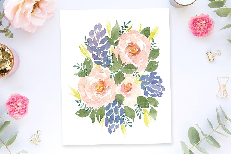 Koko Loko Watercolor Flower Floral Art Print 8x10 Home Decor Wall