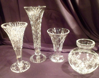 Collection of 4 Vintage Cut Crystal Vases: Funnel, Footed, Crosshatch, Puntys, Swords