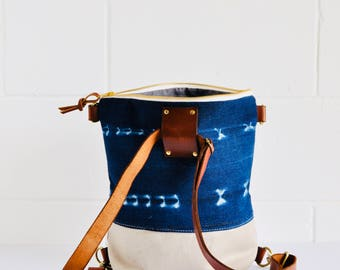 Indigo Leather backpack, Canvas Convertible Backpack - Hipster backpack - Indigo,Travel backpack - Women's backpack - made in Australia