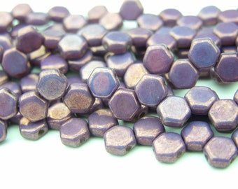 30x Czech Honeycomb Beads 6mm Hexagonal 2 Hole Purple Vega