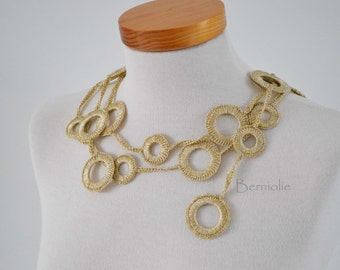 Crochet circle necklace Gold I950