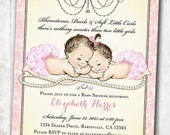 Twin Girls Baby Shower Invitation for baby girls Pink vintage antique french baby shower -  DIY Printable