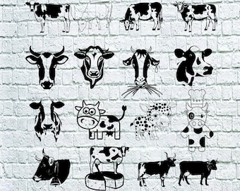 Cow SVG Bundle, Cute Cow Dxf, Ox Svg, Cartoon Cow Cut Files For Silhouette, Files for Cricut, Cow Faces Vector, Svg, Eps, Dxf, Png, Decal