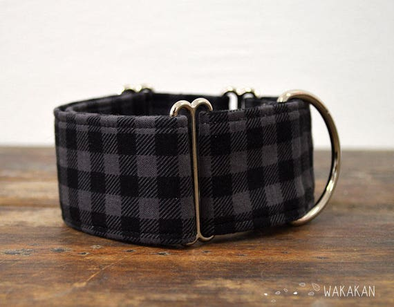 Martingale dog collar model Classic. Adjustable and handmade with 100% cotton fabric. plaid gray and black. Wakakan