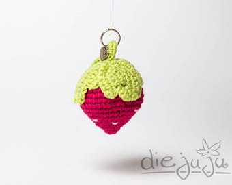 Schlüsselanhänger Erdbeere gehäkelt crochet