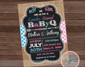 BBQ Gender Reveal Party Invitation, Picnic Gender Reveal Invitation, BaByQ Gender Reveal Invitation, Baby-Q Invitation, Digital File