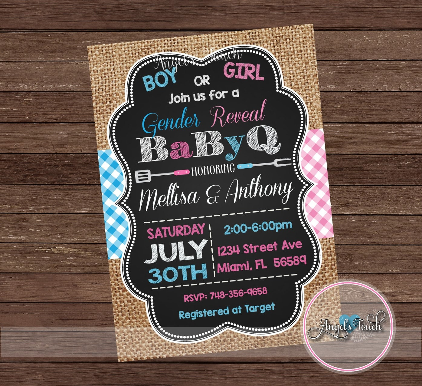 BBQ Gender Reveal Party Invitation, Picnic Gender Reveal Invitation ...