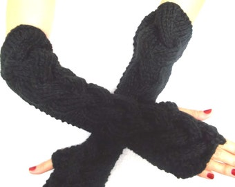 Fingerless Gloves Elbow Length Arm Warmers Black Extra Chunky Warm