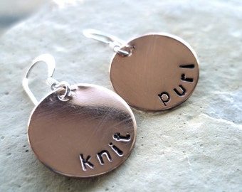 Pretty Knitty knit and purl copper earrings as featured in Knitting Today
