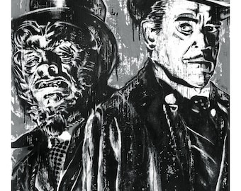 Dr. Jekyll and Mr. Hyde - 12 x 18 high Quality Art Print -Custom Black and White version