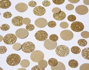 Gold Polka Dot Confetti, Wedding Reception Decoration, Table Scatter, Glitter Confetti, Bridal Shower Decor