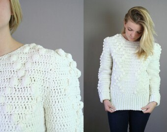 Vintage1980s Hand Crocheted Sweater