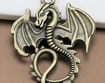 "2pcs-1.5"" Dragon charm pendant-antique brass tone dragon charm"