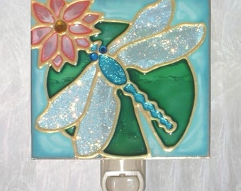 Dragonfly Gifts Blue Dragonfly Night Light Plug In Stained Glass Dragonfly Art Bathroom Decor Dragonfly Wall Decor Art Aqua Nightlight
