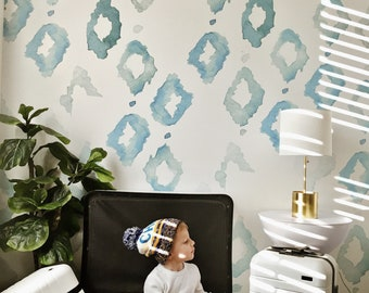 SALE Triangles Mural - Large Kids, Blue Shapes Wallpaper