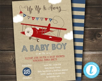 Airplane Baby Shower Invitation for a Boy, INSTANT DOWNLOAD, Up Up and Away Invite, Editable with Templett, Printable Digital Invitation