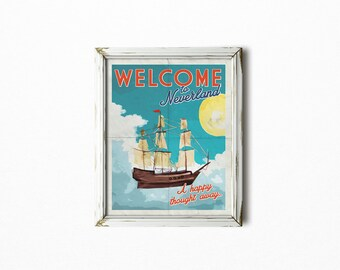 Peter Pan Nursery Art Print - Welcome to Neverland - Poster -  Nursery wall decor - Teal - Yellow - Bright - Nursery Print - SKU:9903