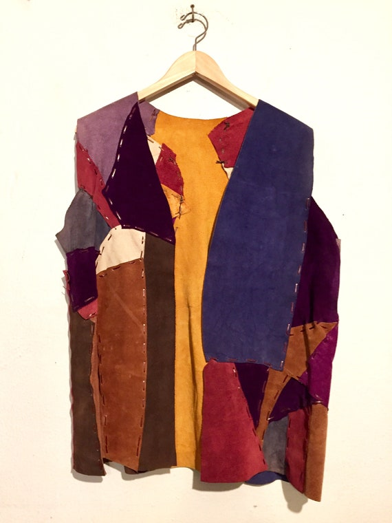 60s Suede Patchwork Long Open Vest