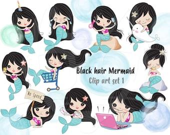Black hair Mermaid Clip art set 1 , instant download PNG file - 300 dpi