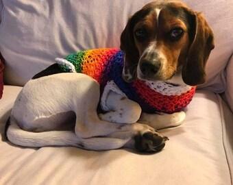 Small, Custom Crochet Dog Sweater, Crochet Dog Clothes, Dog Sweater, Custom Sweater, Choose your own color dog sweater, Crochet Dog Clothing