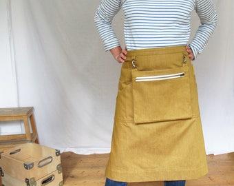Makers Market Denim Apron with Detachable Cash Bag, for Craft Sellers, Art Fairs. Ochre No12