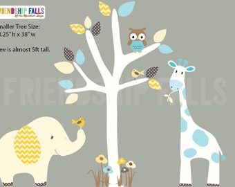 nursery Jungle Decal, elephant Wall Decal, giraffe decal, Nursery Wall Decal, Friendship Falls XXL Branch Tree Set - Retro Chevron Scene