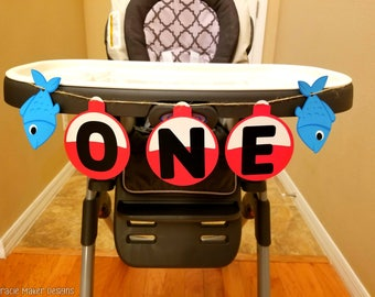 Ofishally One High Chair Banner, 1st Birthday Banner, Fishing Themed Party Décor, Cute Fish Banner, Ofishally One Themed Party, Party Banner