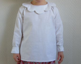 Smock blouse collar cotton white petal flower scalloped mother of Pearl 4/6 years