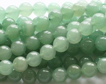 Natural Green Aventurine Round Gemstone Beads