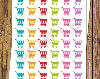 48 Shopping Cart Planner Stickers Shopping Stickers Shopping Cart Stickers Rainbow Icon Planner Stickers Planning Fits ANY Planners A58