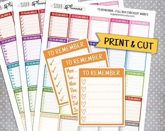 To Remember Full Box Checklist Stickers, Printable Planner Stickers, Erin Condren Planner Stickers, Full Box Stickers, To Remember Stickers