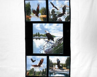 "Majestic Bald Eagle Fabric Panel - outdoor/wildlife/rustic/patriotic/usa/bird/trees/lake/water/sky/america approx. 24"" x 42"" (#o202)"