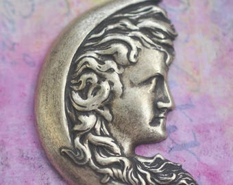 Art Nouveau Lady Moon Brass Stamping, Stampings, Romantic, Findings, Brass Ox, Jewelry Making, Jewelry Supplies Made in America