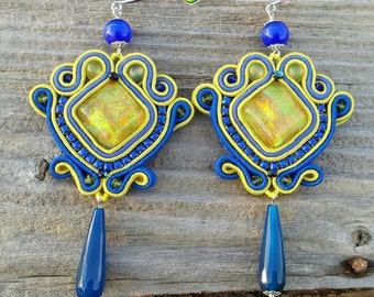Soutache earrings 10x5,5 cm, blu, cabochon, handmade, strass, thread, cotton, modern style, sutasz, glam style, chic, classic