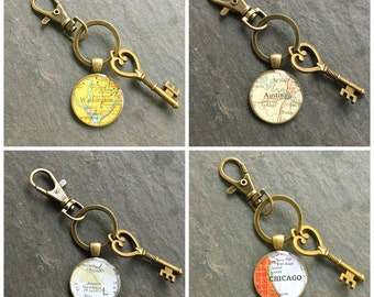 Custom Map  Keychain Bronze with Ring Swivel Clasp and Key Vintage Atlas Your City Choice Traveler Gift for Coworker