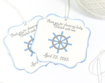 Nautical Baby shower favor tags, boy baby shower thank you tags, Personalized baby shower gift tags, Blue baby shower
