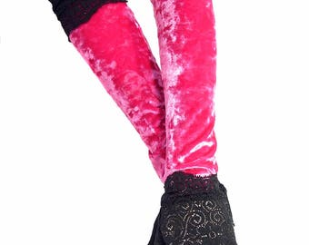 XX long crushed velour neon pink fingerless gloves with black lace cuffs