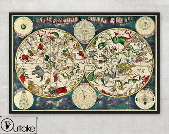 Celestial Map, astrology poster, map of the star signs and zodiac, - 026